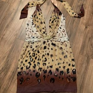 Bebe Cheetah Print Halter Dress